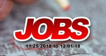 Local Job Openings: Week of 11/25/18 to 12/01/18