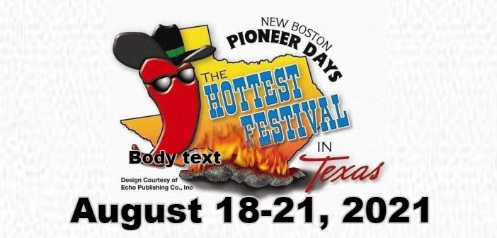 2021 New Boston 'Pioneer Days Festival' – Schedule of Events